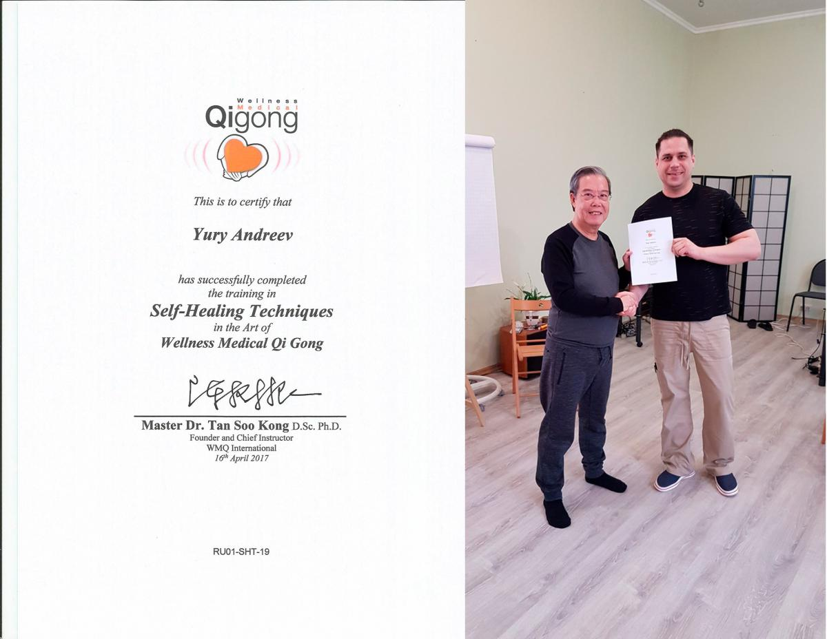 Сертификат. Wellness Medical QiGong, Malaysia — Self-Healing Techniques in the Art of Wellness Meducal QI Gong